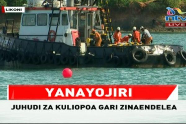 Ongoing operations at Likoni. Divers spotted what seemed like a car bu the government is yet to confirm.