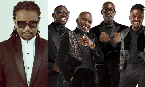 Kenya's Boy Band Sauti Sol (to the right )and King of Pop Nyashinski  (on the left )collaborated on the track 'Tujiangalie', released on August 21, 2018
