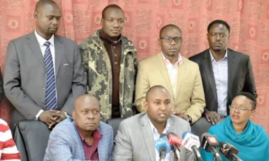 A Faction of leaders in support of the BBI led by Suna East MP Junet Mohammed and Murang'a Woman Rep Sabina Chege while they addressed a press conference on Monday, January 13, 2020.