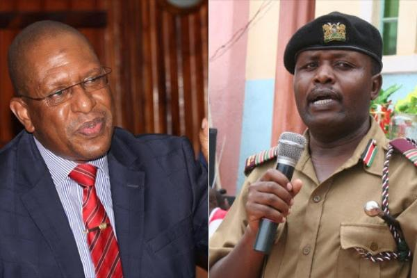 A photo collage of CS Keriako Tobiko and Rift Valley Regional Commissioner George Natembeya.