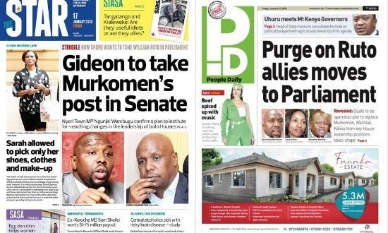 Sample articles that reported of a possible change in leadership within the Jubilee Party on Friday, January 17, 2020.