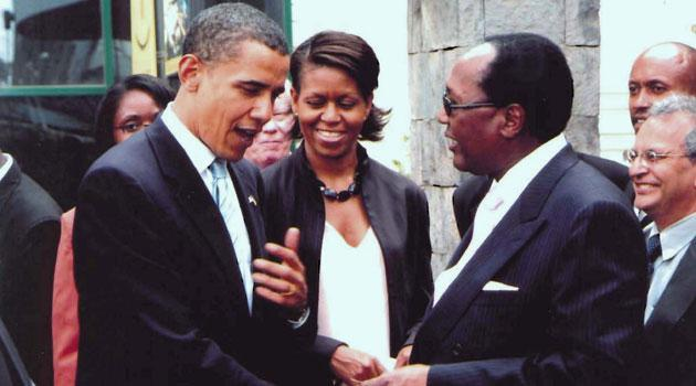 Businessman Chris Kirubi greets former US President Barack Obama and First Lady Michelle Obama when he toured Kenya in 2015.