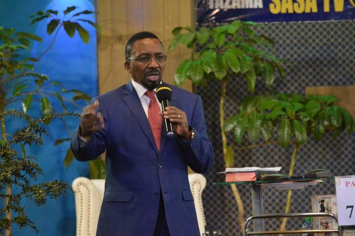 Pastor James Maina Ng'ang'a speaking at his church