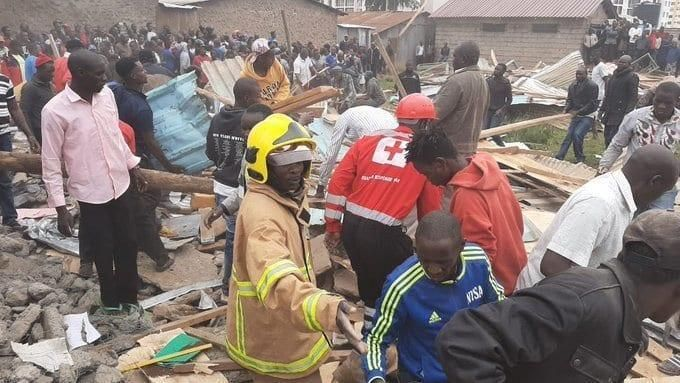Volunteers working tirelessly at the collapsed structure at Precious Talent School on Ngong Road in Nairobi. Sonko blasted The Star for a story they published alleging City Hall was in turmoil after he suspended several officials