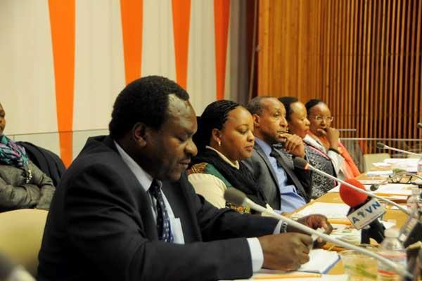 Anne Waiguru (2nd left) and other panelists during a side event hosted by the Ministry of Devolution and Planning on the sidelines of the 59th session of the Commission on the Status of Women at the UN Headquarters, Wednesday, March 18, 2015.
