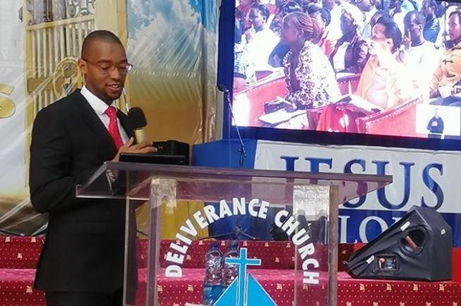 Citizen TV anchor Waihiga Mwaura issuing a sermon at the Deliverance church at Eldoret on Sunday, November 17.