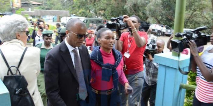 Tob Cohen's widow Sarah Wairimu arriving at Chiromo mortuary with her lawyer Philip Murgor on Wednesday, September 18. Sarah has agreed on four conditions with Cohen's sister Gabrielle Van Straten before burial.