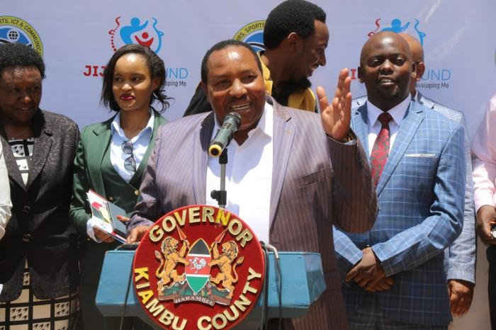 Kiambu Governor Ferdinand Waititu with County Executives at a past event. Some of the executives are rebelling against the acting governor, stating that they do not recognize his authority.
