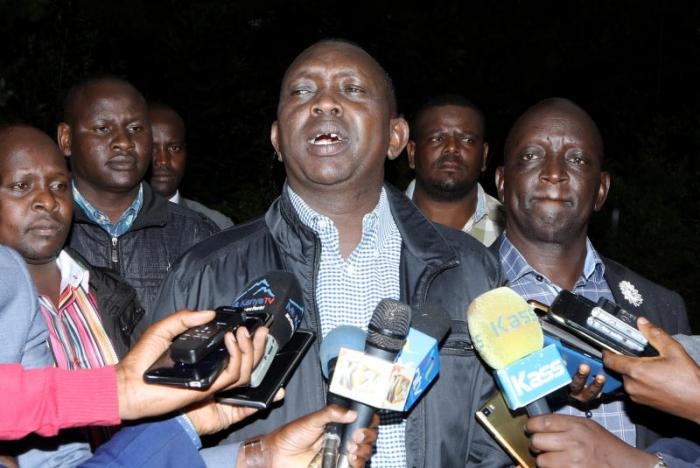 Kapseret MP Oscar Sudi addressing the press in Eldoret on Wednesday, July 24, 2019