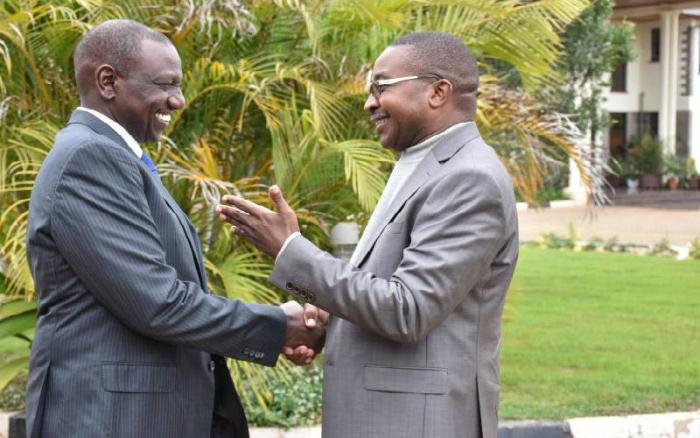 Deputy President William Ruto with Murang'a Governor Mwangi wa Iria at the DP's Karen office on Tuesday, June 25, 2019. President Uhuru Kenyatta will attend a church function in his county on Sunday, November 10.