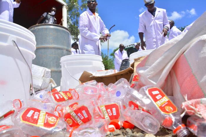 "WHO disclosed that of the kinds of alcohol Kenyans consumed, 39.8 per cent was made up of beer, 37 per cent by 'others' which predominately comprise the illicit brews often known locally as ""changaa"". Photo: The Standard"