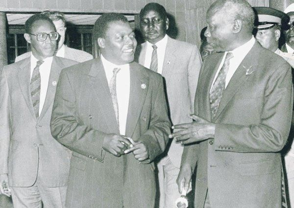 Youth for Kanu '92 Chairman Cyrus Jirongo with President Moi before the 1992 General Election. Moi used his party's new wing to secure re-election by any means necessary