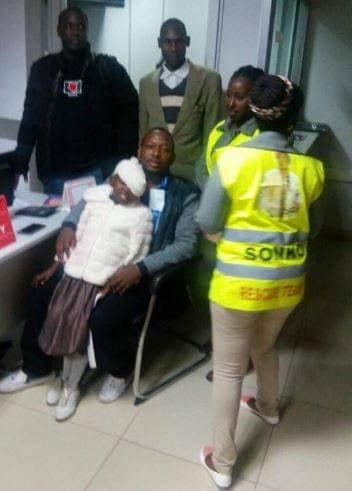 Nairobi Governor Mike Sonko with Baby Scandy Chelagat shortly after she was discharged.