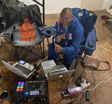 Radio presenter Jacob Ghost Mulee hosting Radio Jambo from home on July 23, 2020