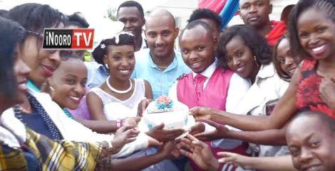Inooro TV news anchor Winrose Wangui and her estranged husband Reuben Kivati during their wedding on April 17, 2019