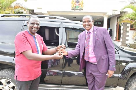 DP William Ruto gifts Rev Daniel Lotuno on Tuesday, May 4
