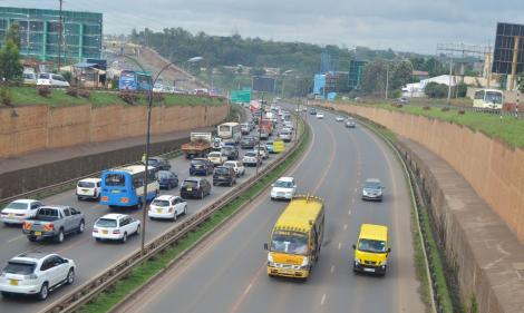 Vehicles on the busy Thika superhighway around Mountain Mall.