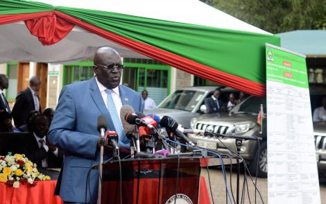 CS Education Prof George Magoha while releasing 2019 KCPE results at Mitihani House in Nairobi on November 18, 2019