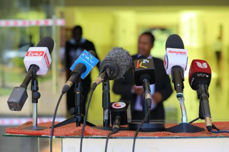 Microphones set up for a press conference in Nairobi on Thursday, February 20, 2020.