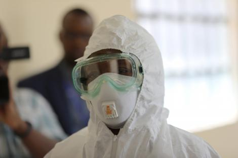 A medical practitioner dressed in protective gear at Coronavirus isolation and treatment facility in Mbagathi District Hospital on Friday, March 6, 2020