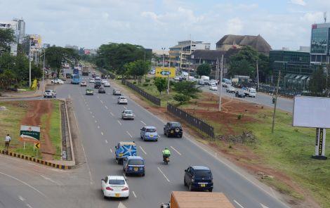 An elevated view of motorists along Mombasa Road-Langata Road. Thursday, October 14, 2019