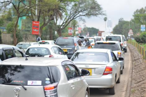 Motorists on a Colossal Traffic Jam Along Busy Uhuru Highway in Nairobi