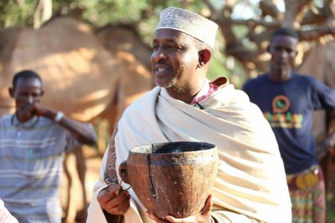 National Assembly Majority Leader Aden Duale at his camel farm in Libahlow, Balambala Constituency, Garissa County on December 22, 2019