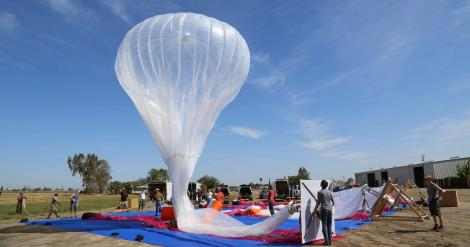 A Google Loon balloon being set up for launch