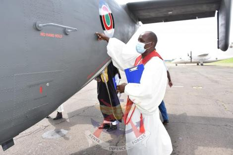 A Military official inspects the C-145 Skytruck aircraft after being commissioned by KDF on Tuesday, April 21, 2021