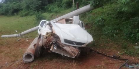 A wreckage of the white Opel saloon car off the Southern Bypass on June 7,2021
