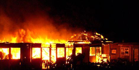 A building on fire in Kenya