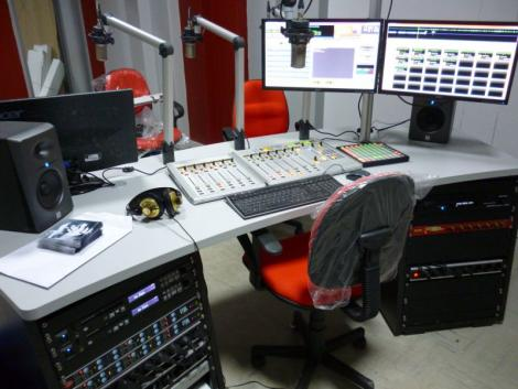 A control station at a radio studio.