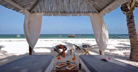 A gazebo in a private beach at the Billionaires resort in Malindi