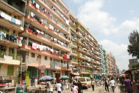 A line of highrise rental houses in Nairobi