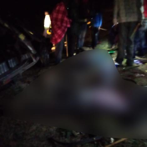 A mamgled up matatu at the scene of accident along Narok-Mai Mahiu Road on Wednesday night, October 14, 2020.