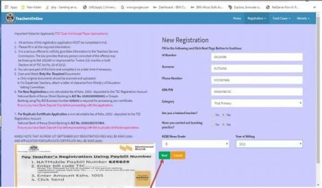 A page showing step 1 of TSC number registration process.
