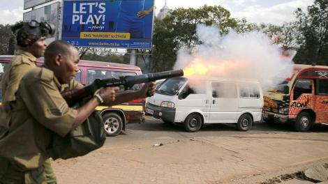 A police officer launching a teargas canister during an operation. On Friday, May 22, 2020, officers carrying out a curfew enforcement operation in Huruma area, Nairobi, launched a canister that landed next to a 2-month-old baby.
