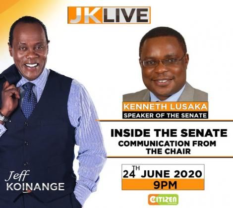 A poster shared by Citizen TV to announcing Ken Lusaka as the show's guest.