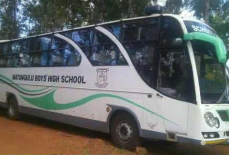 A school bus belonging to Matungulu Boys High School