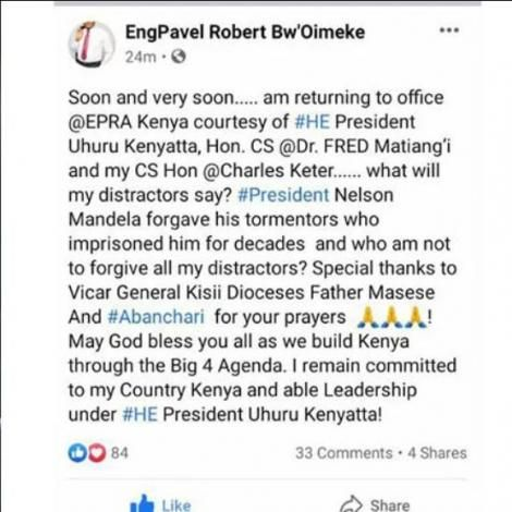 A screen grab of ousted EPRA boss Pavel Oimeke Facebook post