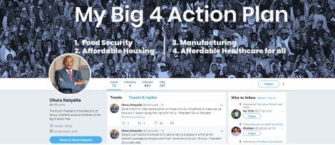 A screengrab of the twitter account currently using President Uhuru Kenyatta's old username, March 22, 2020.