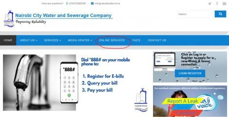 A screenshot of the Nairobi Water and Sewerage Company Web Page. Click on the Online Service Tab to check your water bill online.
