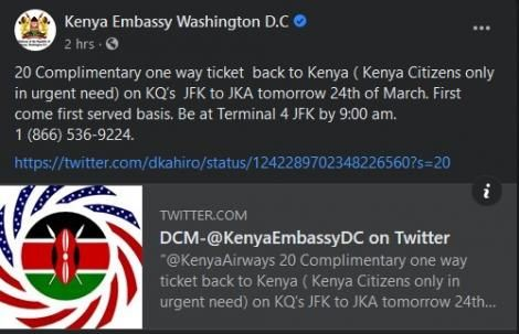 A screenshot of the post by the Kenya Embassy in Washington DC dated March 24, 2020.