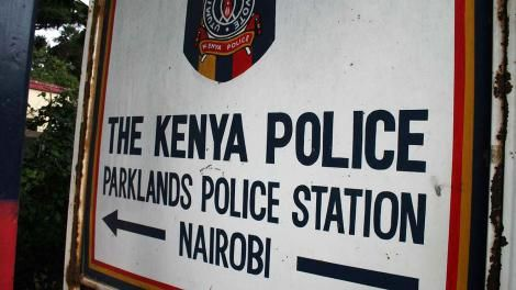 A signpost of Parklands Police Station in Nairobi.