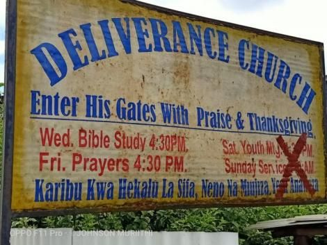 A signpost showing Kibirigwi Deliverance Church in Ndia constituency