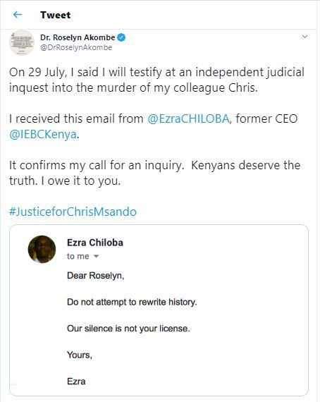 A tweet by Former IEBC Commissioner Roselyn Akombe exposing former IEBC CEO Ezra Chiloba's email to her.