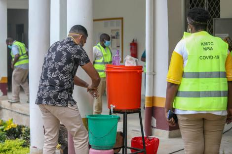 Mvita MP Abdulswamad Shariff Nassir washes his hands at the Kenya Medical Training College (KMTC) in Mombasa during the launch of a sensitization campaign on April 28, 2020