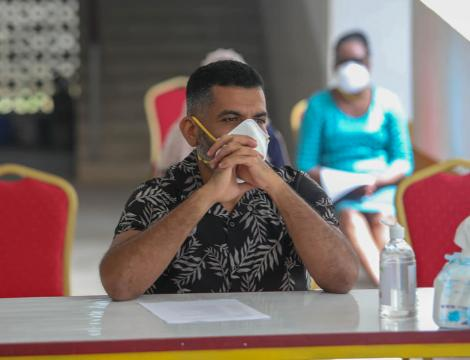 Mvita MP Abdulswamad Shariff Nassir pictured at the Kenya Medical Training College (KMTC) in Mombasa during the launch of a sensitization campaign on April 28, 2020