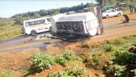 Accident along the Iten-Eldoret route owing to a collision between an ambulance and a fuel tanker on March 24, 2020.