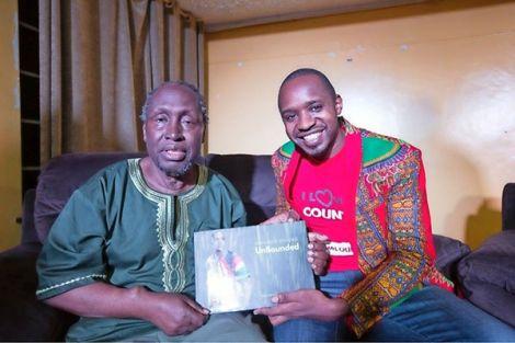 Activist Boniface Mwangi with author Prof Ngugi wa Thiong'o in the United States